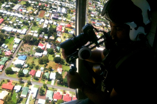 "Brad Francis films aerial shots over Toowoomba, QLD. ""RACQ Careflight TVC"", 2012"